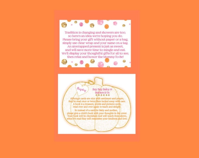 Self Print-Additional Poem Cards for A little Pumpkin is on her way