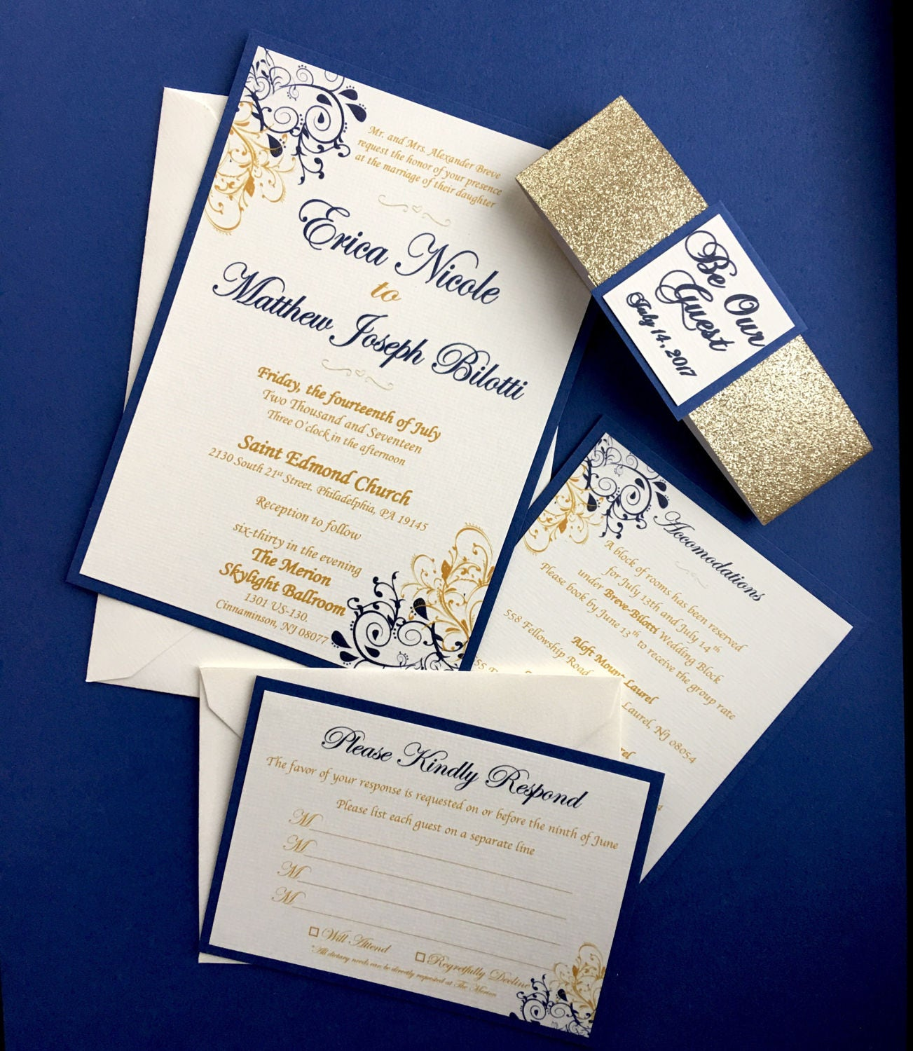 Beauty and The Beast Themed Wedding Invitations - Sapphire Blue and Gold