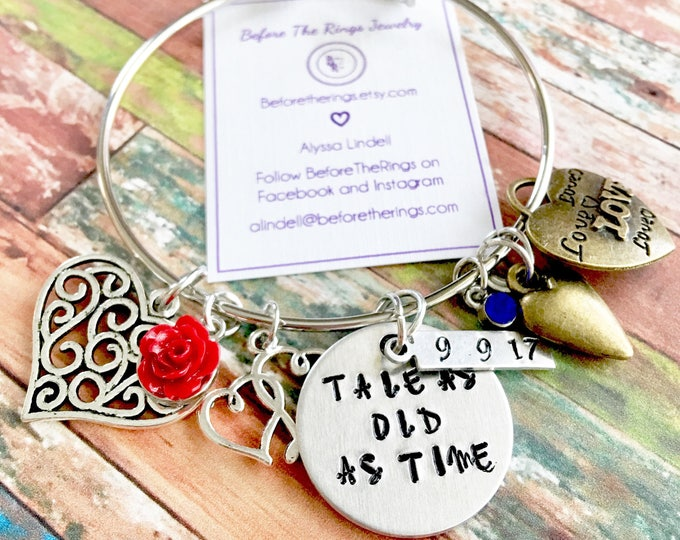 Tale as Old as Time - Beauty and the Beast Inspired Bangle with Wedding Date and Charms - Gift for the Bride - Wedding Anniversary Present
