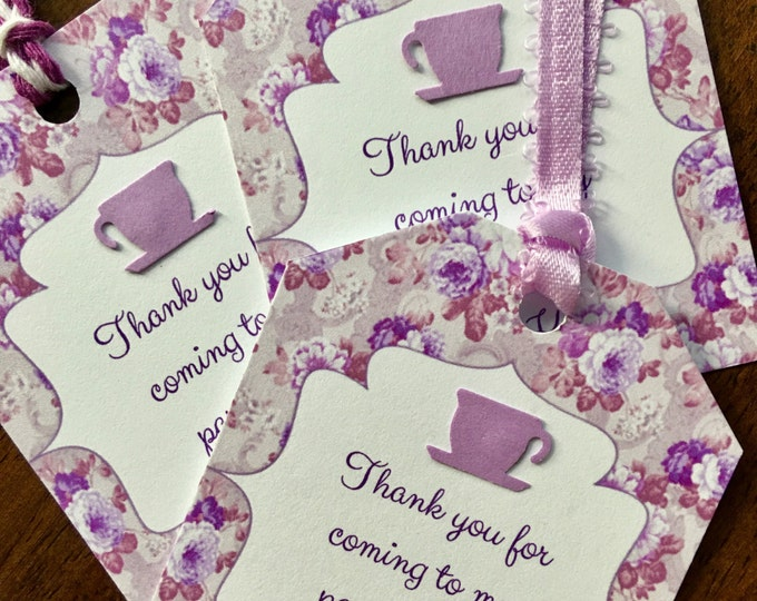 12 Tea bag Shaped Party Thank you/Favor Tags for bridal or baby showers and birthday parties