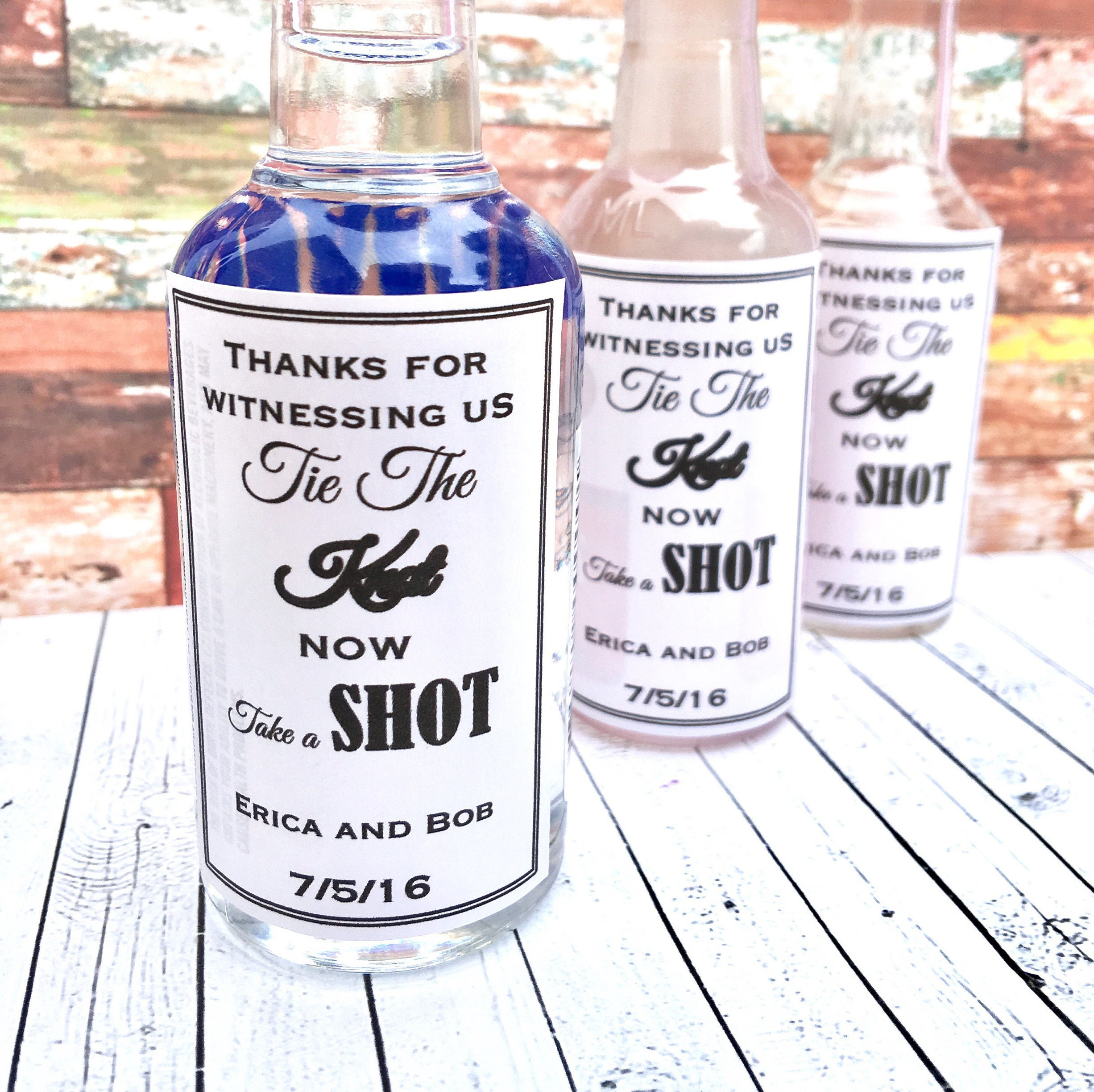Mini Alcohol Favor Labels We Tied The Knot Take A Shot Wedding