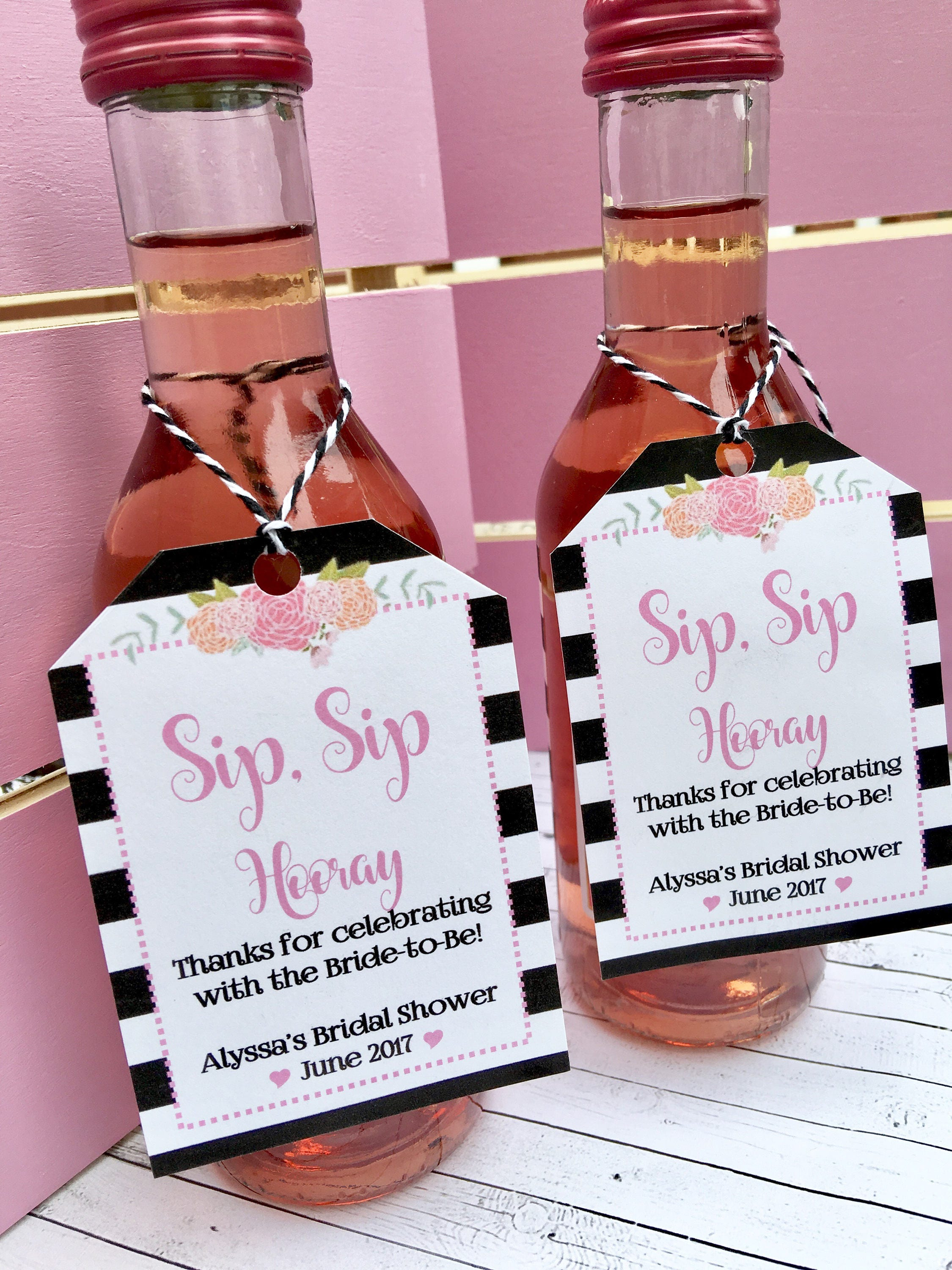 Pink and Black Favor Tags for Small Wine or champagne Bottles ...