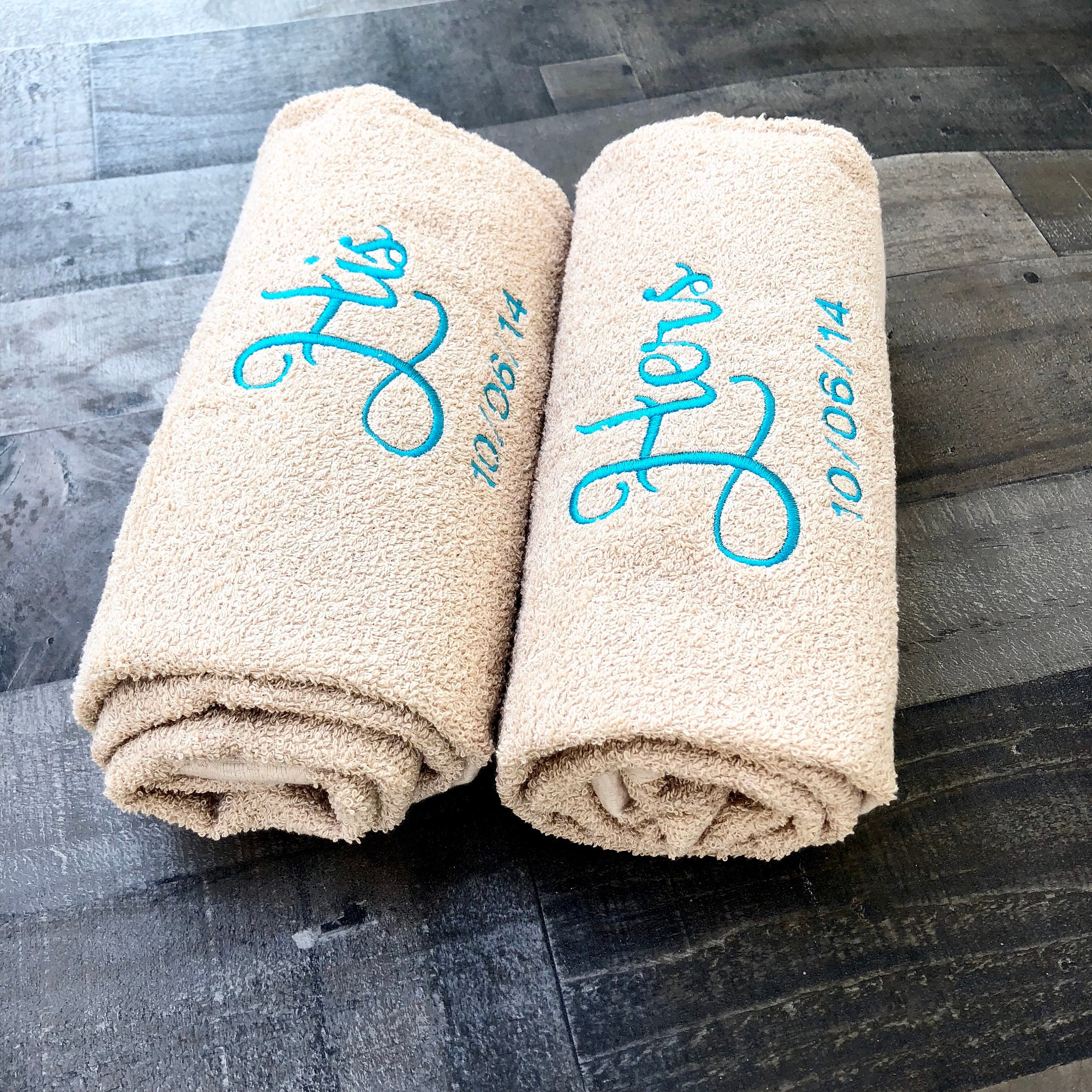Embroidered Towels For Wedding Gift: His And Hers Embroidered Bath Towels With Wedding Date
