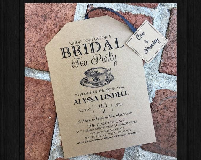 Self Print Rustic Tea Party Bridal Shower Invitations