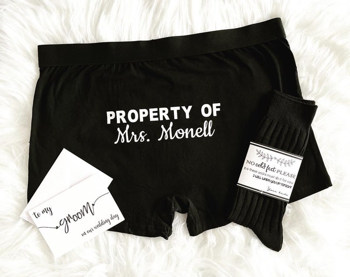 Groom Boxer Briefs, Socks and Card for the Wedding Day - Groom Gift from Bride - Funny Groom Gift - Property of The Bride
