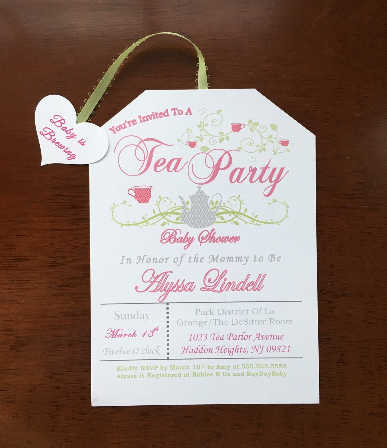 Digital Self-Print Tea Party Baby Shower Invitations- A baby is brewing!