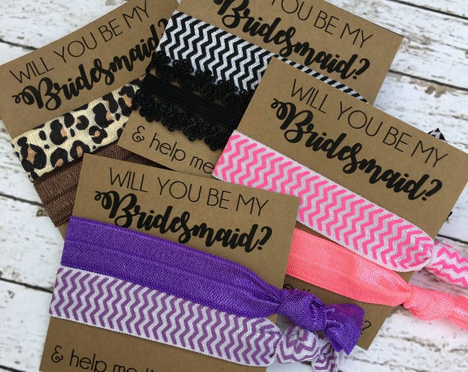 Will you be my Bridesmaid and help me tie the knot hair ties - bridesmaid gift - Bridal Party Gifts and boxes
