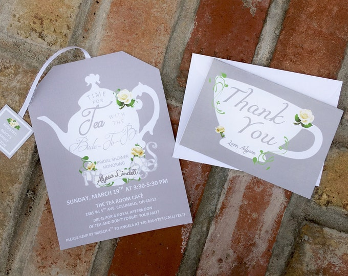 Tea Party Thank You Cards Matching Tea Pot Style Invitations