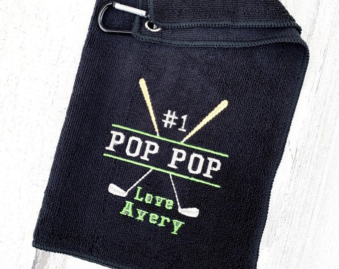 Golf Towel - Personalized Embroidered Golf Towel - PopPop Golf Towel - Gift for Grandpop