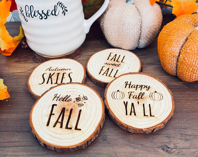 Rustic Fall Engraved Wooden Coasters - Set of 4 Wood Engraved - Coasters with Fall Sayings - Set of 4 Coasters