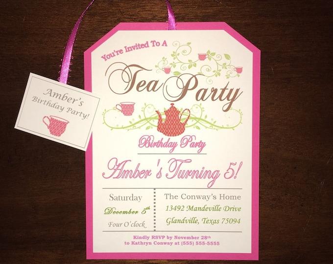 Little Girl's Pink Tea Party Birthday Invitations 5 years old! Customizable.