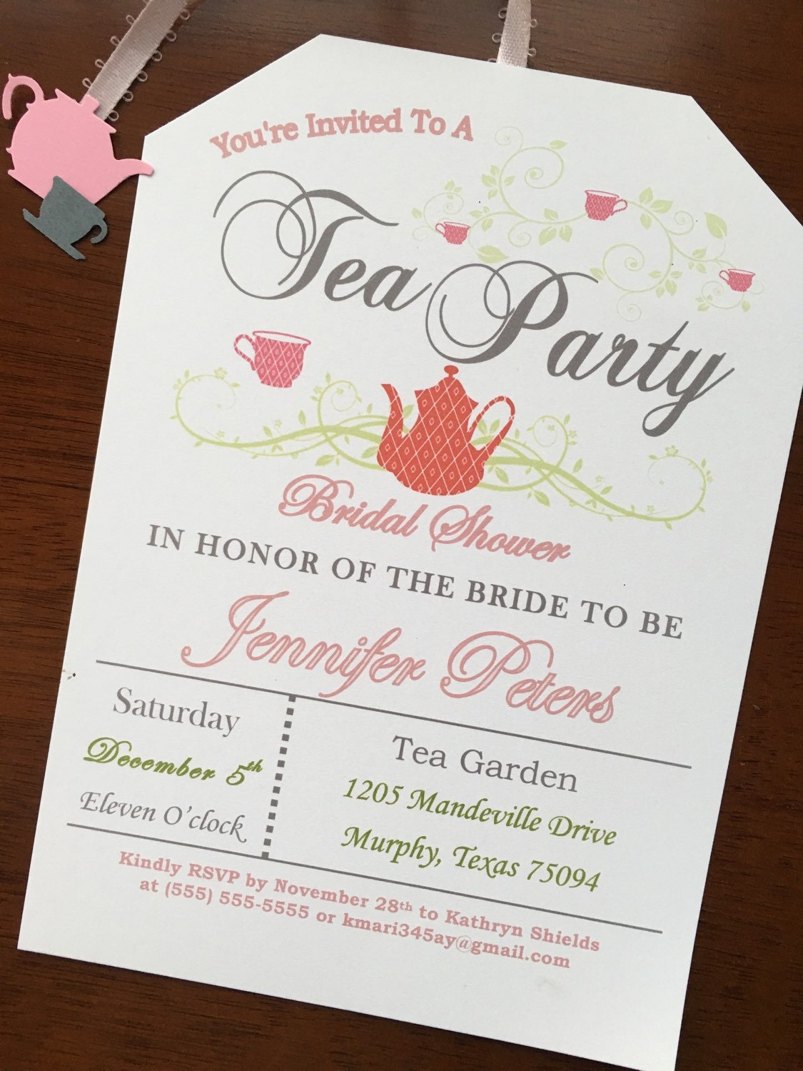 89a18663a6b Tea Party Bridal Shower Invitations- Love is brewing! Pink and Gray. 1