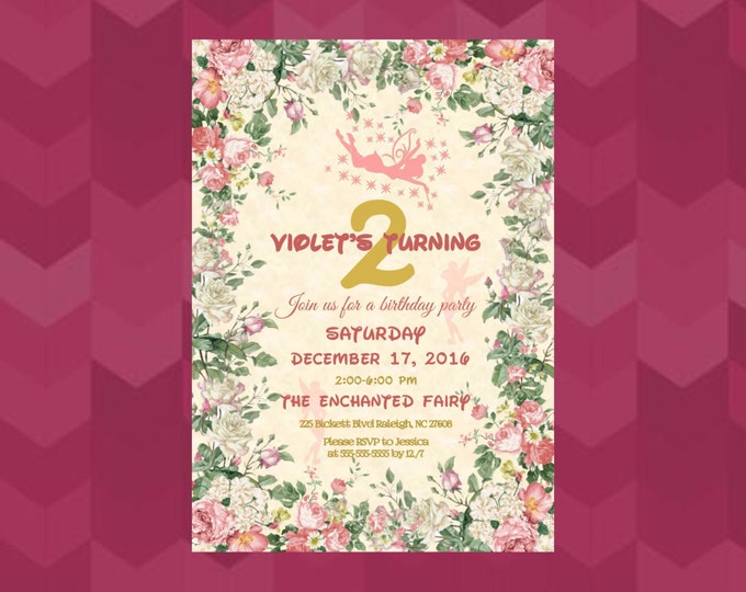 PDF File - Fairy Birthday Invitations - Fairy Themed neverland tinkerbell
