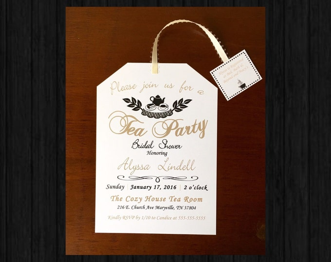 Tea Party Bridal Shower Invitations Gold and Black