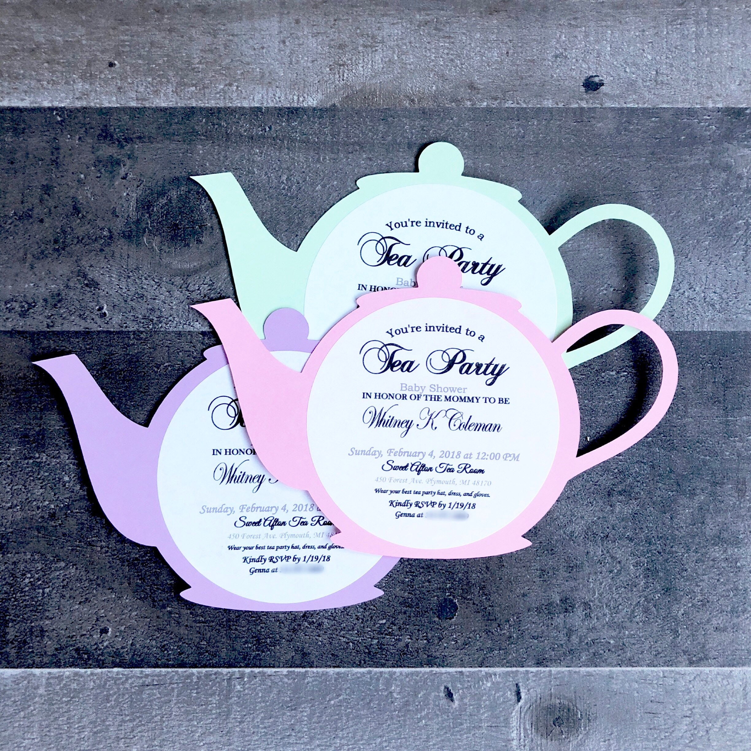 Tea Party Baby Shower Invitations Tea Pot Style With Envelopes