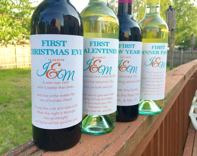 6 Bridal Shower Wine labels - First