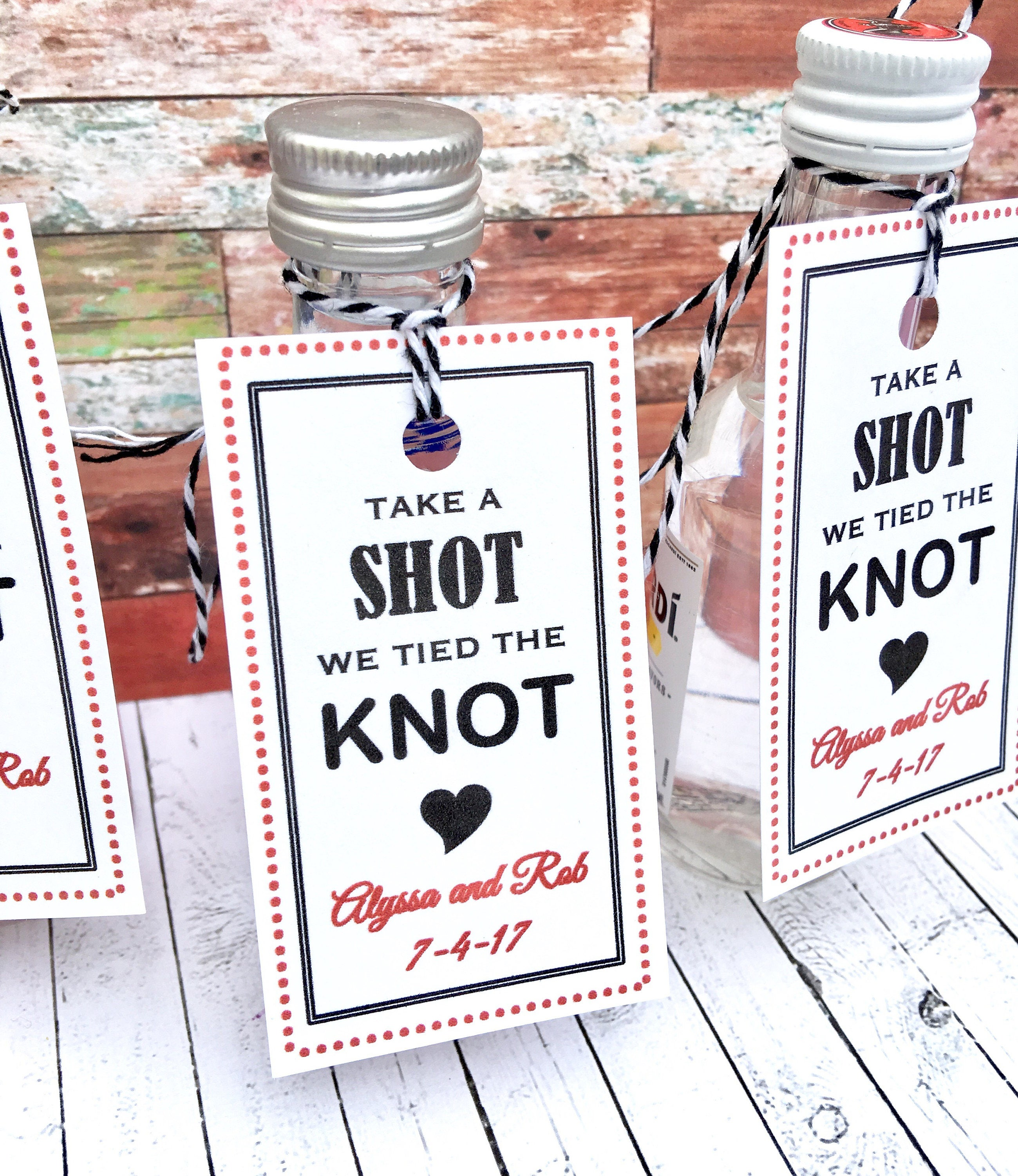 Favor Tags We Tied The Knot Take A Shot Wedding Favors