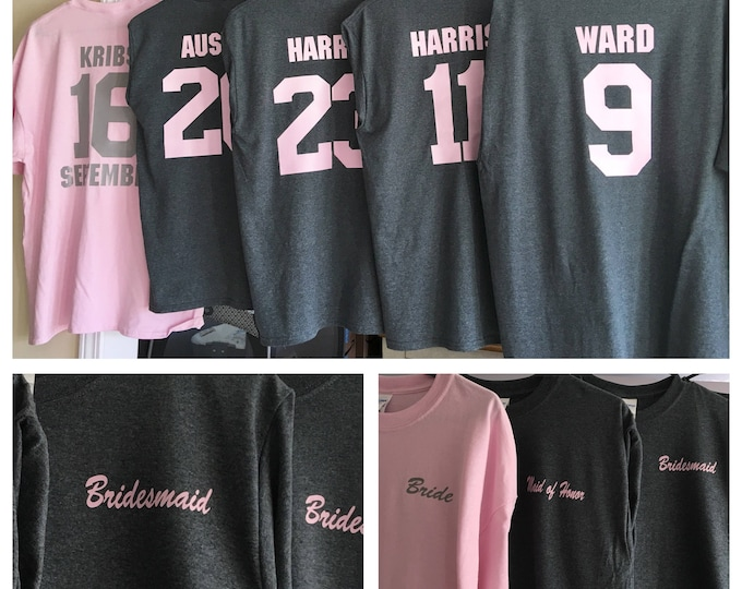 Bridesmaids Shirts Years known the Bride- Pink and Gray Style