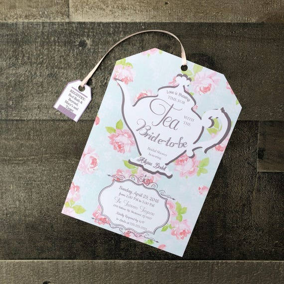 Customizable Tea Party Bridal Shower Invitations Envelopes Included Tea Bag Shape Tea Party Baby Shower Invitations