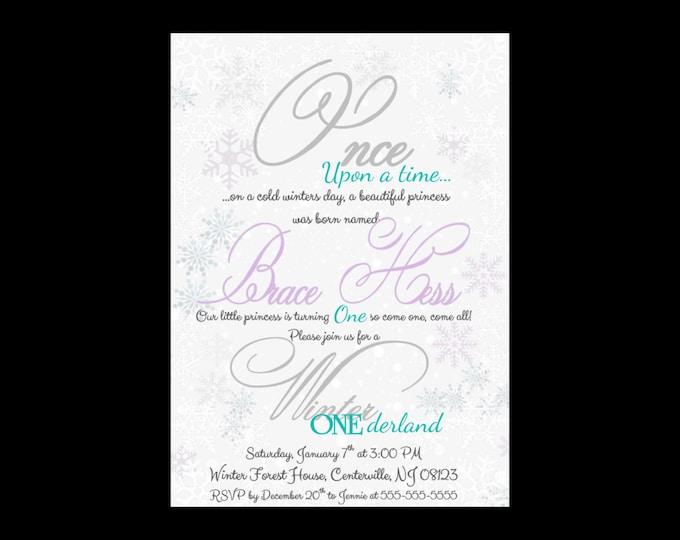 Self Print Winter ONEderland Birthday Invitations