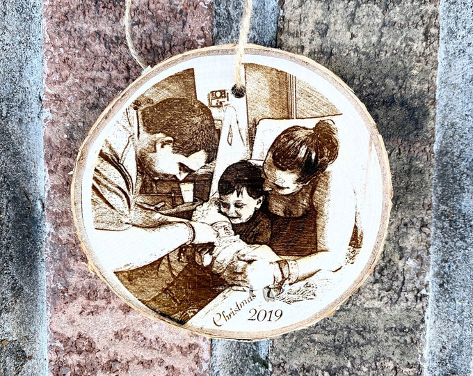 Personalized Wood Engraved Photo Ornament - Wood Etched - Laser Photo Ornament - Christmas Photo