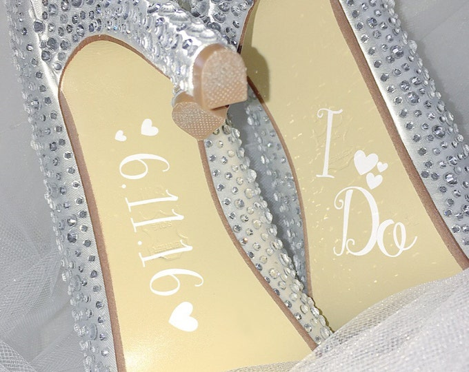 Bride Wedding Shoe Decals I Do with Date