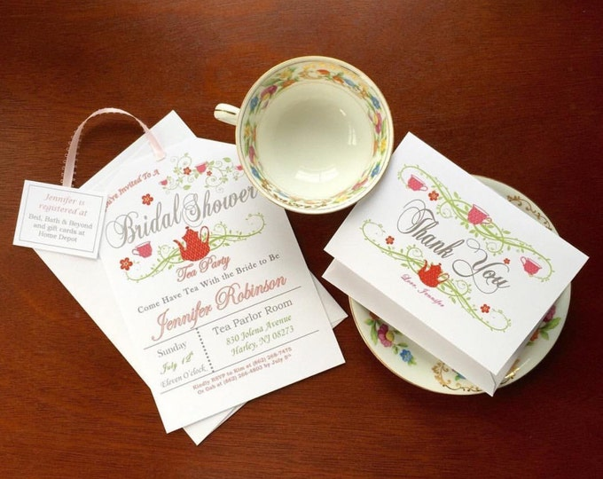 Self Print Thank you cards - customizable Tea Party Shower thank you's