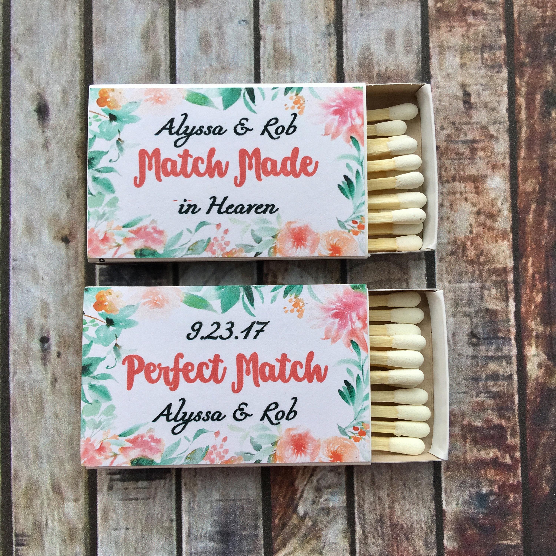 Matches Favor Labels Floral Matchbox Favors The Perfect Match