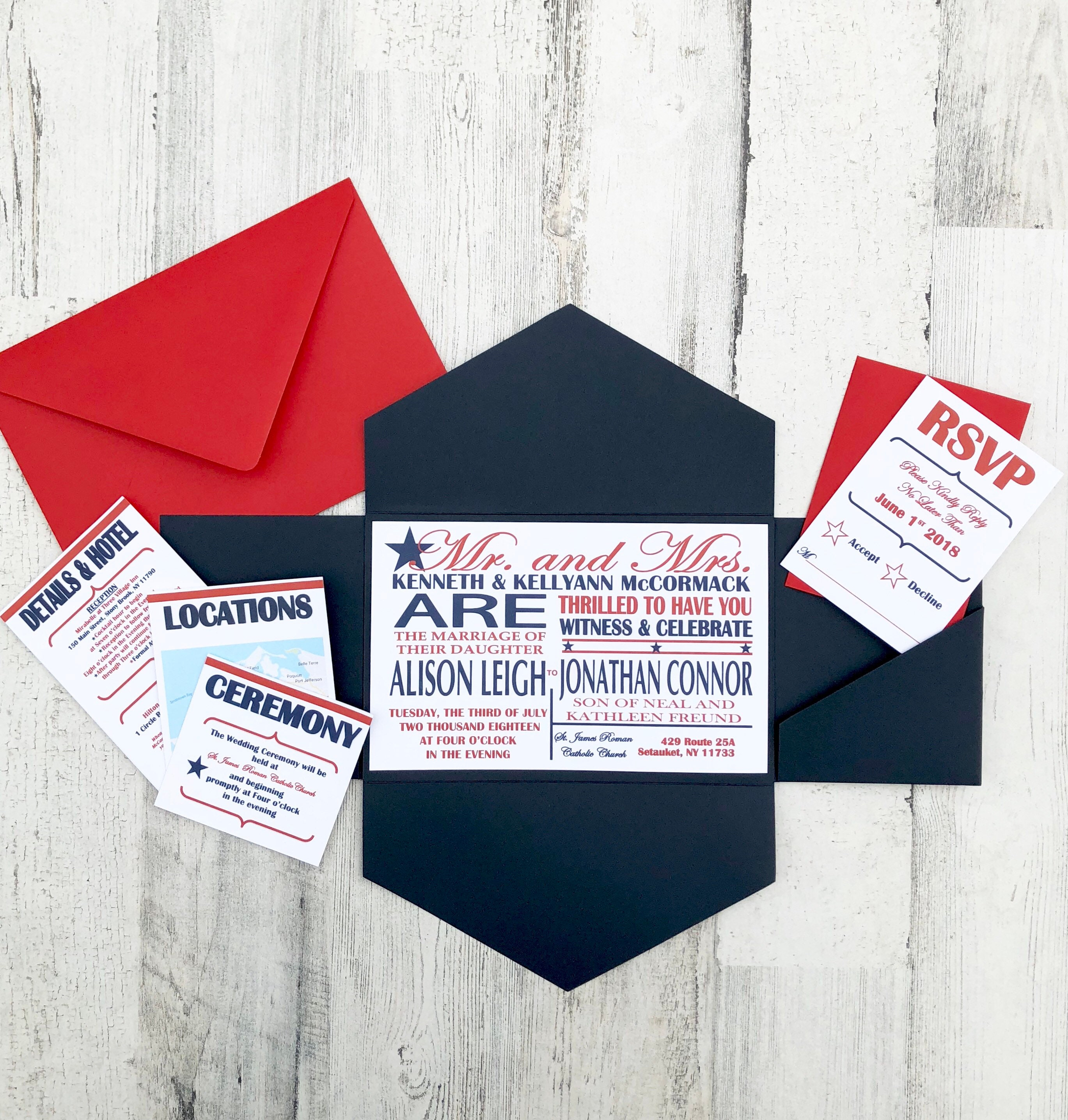 Fourth of July Patriotic Wedding Invitations