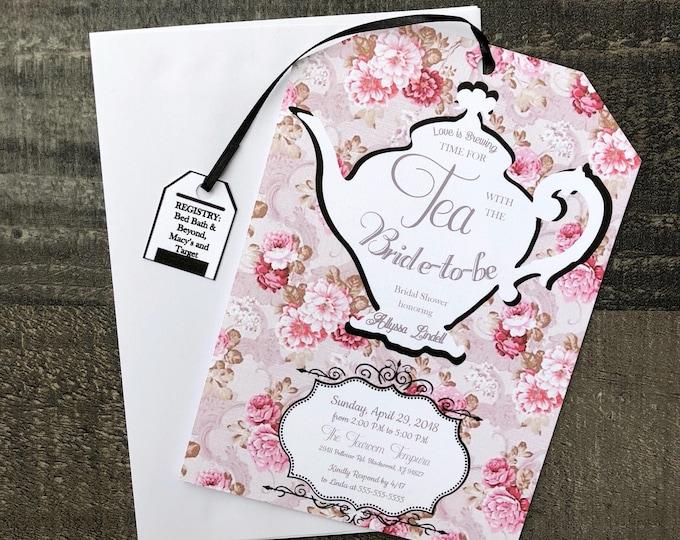 PDF FILE Tea Party Bridal Shower Invitations - Tea Party Baby Shower Invitations - Tea Bag Shape - Customizable - Envelopes Included