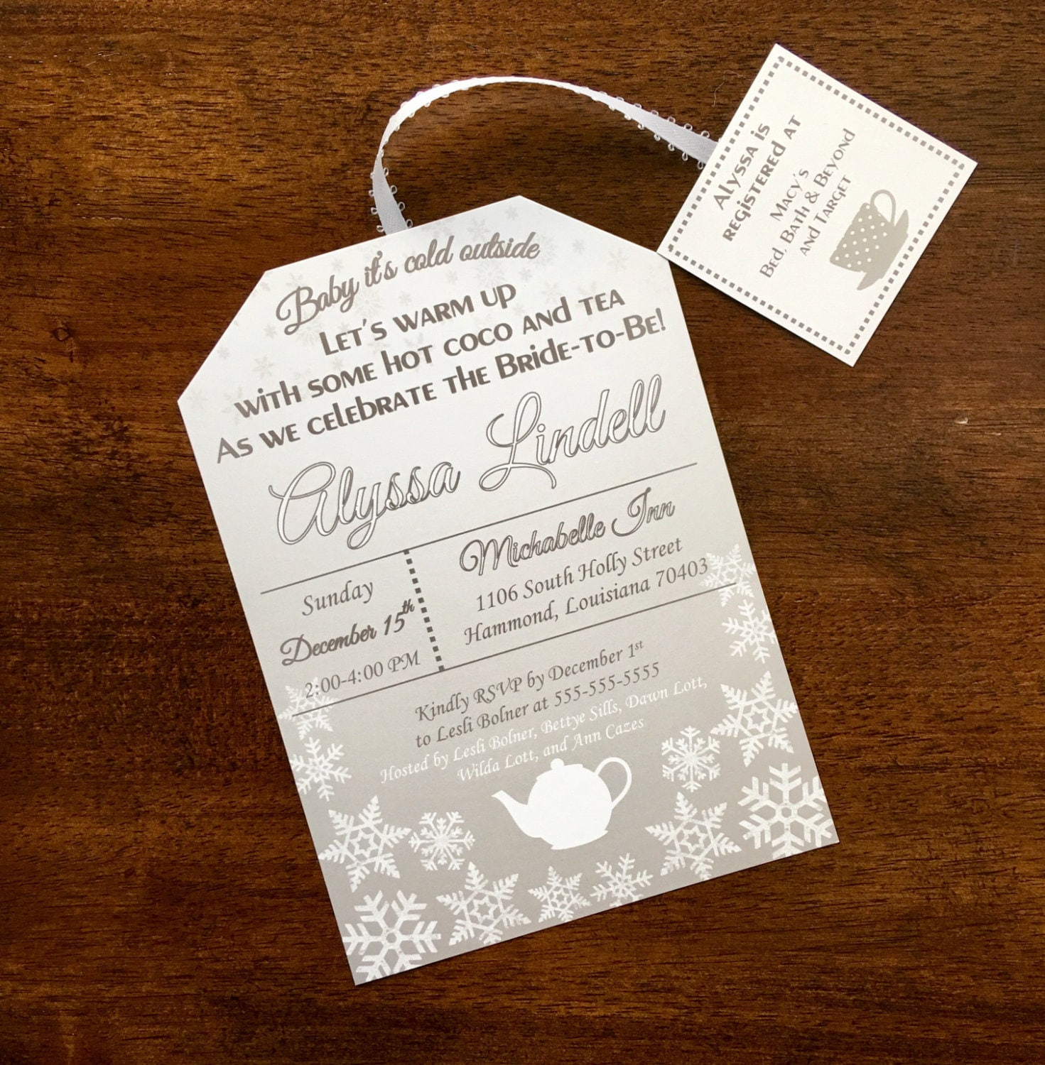 winter tea party bridal shower invitation hot cocoa and tea tea bag shape snowflake bridal shower