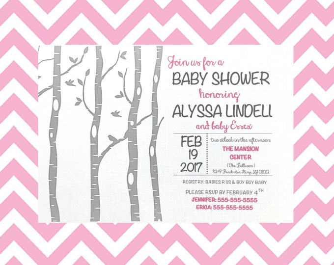 Self Print PDF Woodland Baby Shower Invitations - Birch Trees - white and gray birchtree - pink - Baby girl - fox and owl baby shower