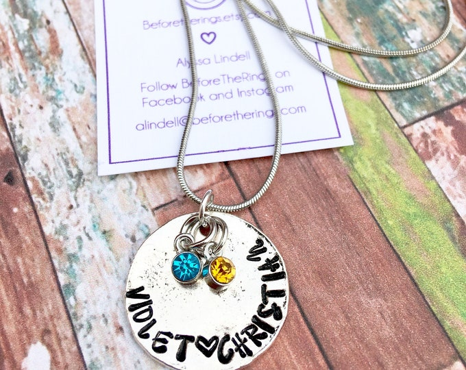 Name Stamped Necklace Antique Silver Wavy Disc - Child's Names and Birthstones - Mother's Day gift - Necklace for mom - Mothers Love
