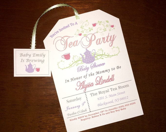 Printable Tea Bag Baby Shower Invitations
