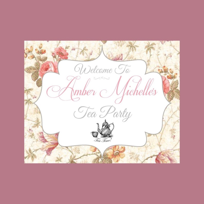Printable Tea Party Welcome Sign 8x10 image 0