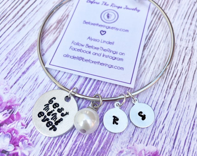 Best Mimi Ever Bangle with Initials and pearl - Mom Mom - Grandma Mother's Day Gift - Gift for new Grandmom