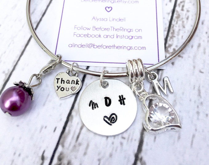 Maid of Honor Bangle with Initial and Charms - Proposal Jewelry - Bridal Party Proposals - MOH Thank You Gift