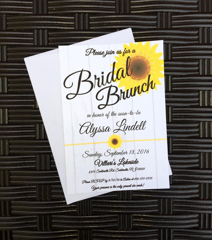 bridal brunch sunflower themed bridal shower invitation