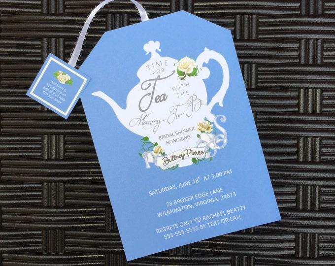 Tea Party Baby Shower Invitations Tea Pot Style