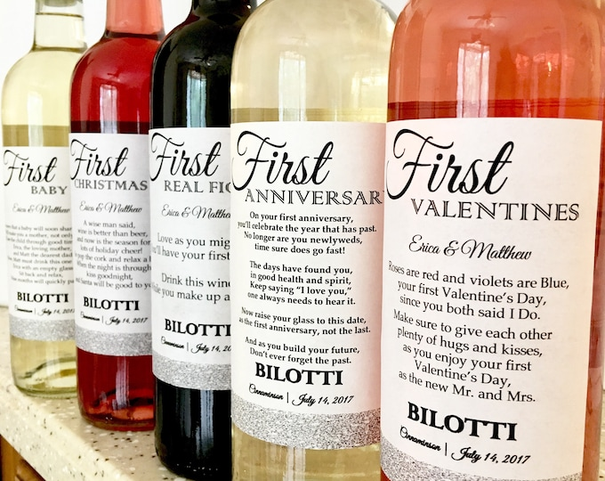 5 Bridal Shower Wine labels - First