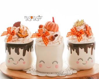 Marshmallow Mug Topper, Fall Pumpkin Faux Whipped Cream Topper, Fall Tiered Tray, Pumpkin Spice Topper, Pumpkin Rae Dunn Topper, My Cozy Cap