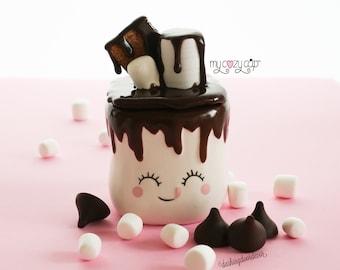 Marshmallow Mug Topper   My Cozy Cap   Chocolate Marshmallow Mug Topper   S'more Tiered Tray Decor      Rae Dunn S'more Decor   Faux Whip