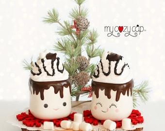Marshmallow Mug Topper, My Cozy Cap, Faux Whip Topper, Hot Cocoa Topper, Marshmallow Mug Topper, Holiday Tray Decor , Fake Hot Chocolate