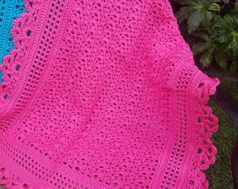 "Crochet Baby Blanket 38"" x 26"" In Stock Ready to Ship"