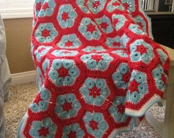 "Granny Square Crochet Baby Blanket 46"" x 38"" In Stock Ready to Ship"