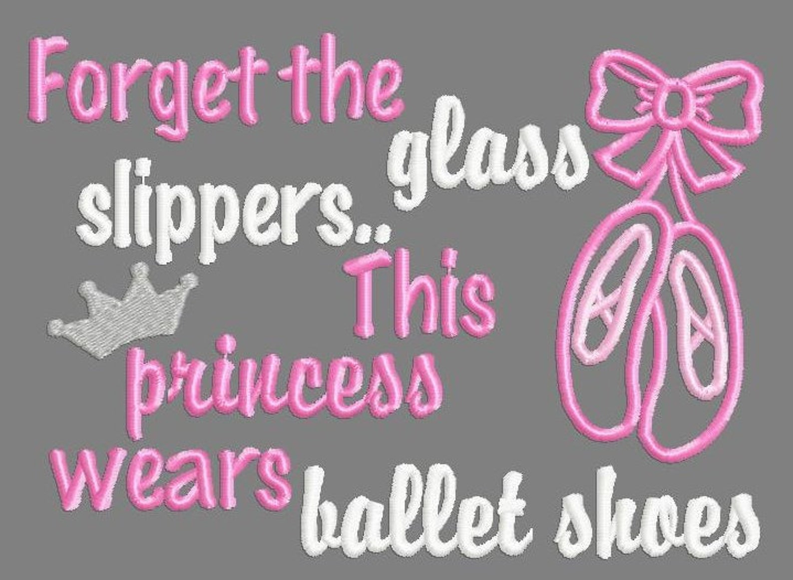 buy 3 get 1 free! forget the glass slippers.. this princess wears ballet shoes applique design, ballet, dance