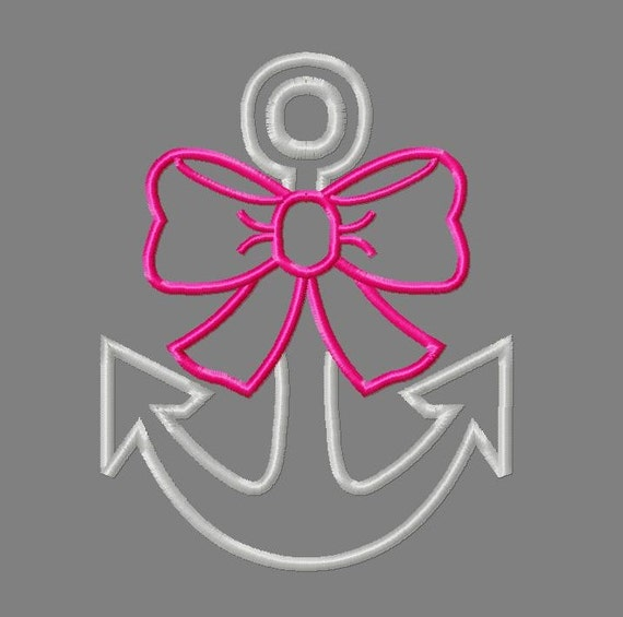 Buy 3 get 1 free! Anchor applique embroidery design, anchor with bow  design, anchor and bow embroidery design, nautical applique design