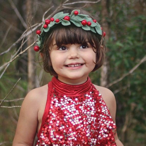Christmas Berry Leaf Halo Flower Crown Felt Holiday Headband  1bb564f4f66