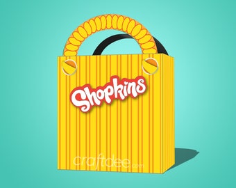 Yellow Printable Shopkins Shopping Bag - Shopkins Birthday Party Favor