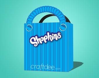 Blue Printable Shopkins Shopping Bag - Shopkins Birthday Party Favor